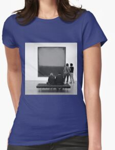 PEOPLE AT AN EXHIBITION (MONOTONE) Womens Fitted T-Shirt