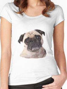 cute little pug dog Women's Fitted Scoop T-Shirt