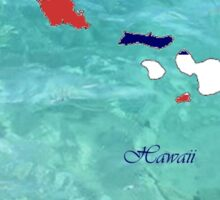 Hawaii Map with Hawaii State Flag Sticker