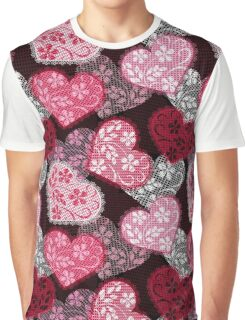 Lacy hearts pattern Graphic T-Shirt