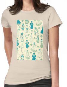 Vintage Ladies BLUE BEIGE Womens Fitted T-Shirt