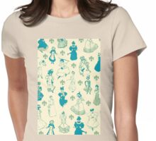 Vintage Ladies BLUE BEIGE Womens Fitted T-Shirt