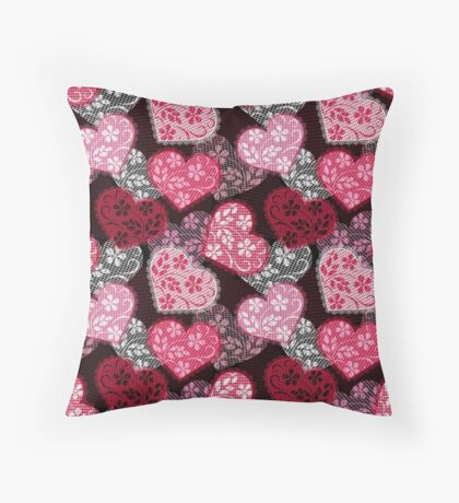 Lacy hearts pattern Throw Pillow