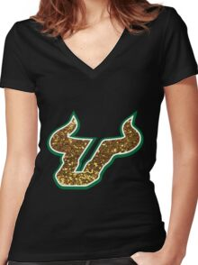 University of South Florida Bulls logo Women's Fitted V-Neck T-Shirt