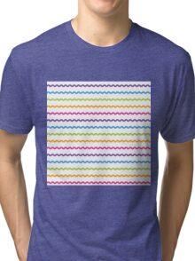Bright Hue Wavy Line Pattern Tri-blend T-Shirt
