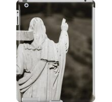 Majestic Jesus Christ sculpture over little french village, Maisonsgoutte, France iPad Case/Skin