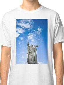 Majestic Jesus Christ sculpture over little french village, Maisonsgoutte, France Classic T-Shirt