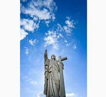 Majestic Jesus Christ sculpture over little french village, Maisonsgoutte, France Classic T-Shirt