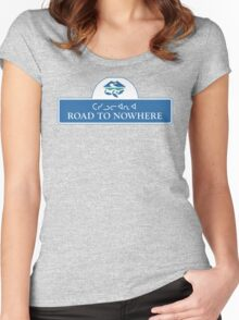 Road to Nowhere Sign, Iqaluit, Canada Women's Fitted Scoop T-Shirt