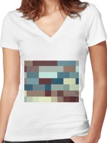Checkered Pattern Design Brown Blue Tan Women's Fitted V-Neck T-Shirt