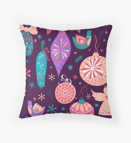 Christmas Baubles Seamless Pattern Throw Pillow