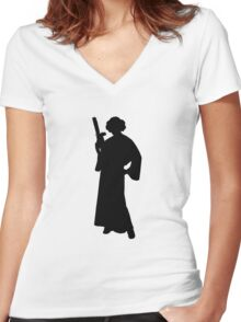 Star Wars Princess Leia Black Women's Fitted V-Neck T-Shirt