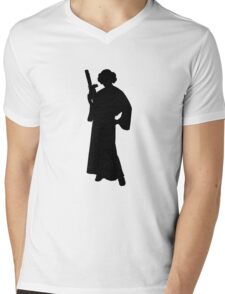 Star Wars Princess Leia Black Mens V-Neck T-Shirt