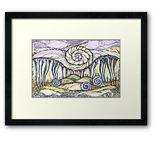 Snails.Hand draw  ink and pen, Watercolor, on textured paper Framed Print