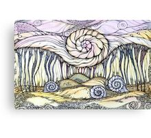 Snails.Hand draw  ink and pen, Watercolor, on textured paper Canvas Print