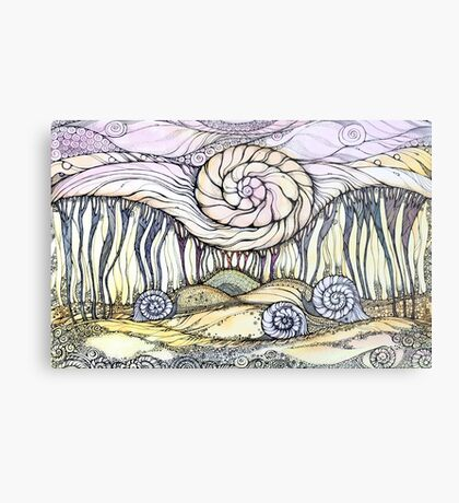 Snails.Hand draw  ink and pen, Watercolor, on textured paper Metal Print