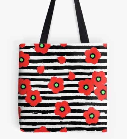 Grungy poppies and stripes Tote Bag