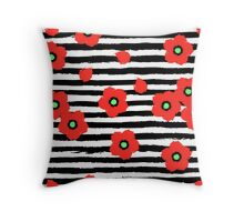 Grungy poppies and stripes Throw Pillow