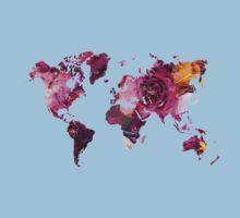 World Map roses Kids Tee