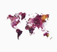 World Map roses One Piece - Short Sleeve