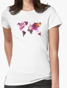 World Map roses Womens Fitted T-Shirt