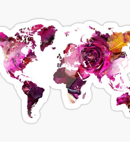 World Map roses Sticker
