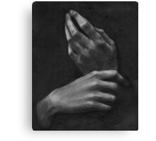 B&W Charcoal Hands  Canvas Print