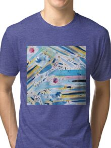 Watercolor hand paint abstract art Tri-blend T-Shirt