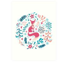 Fox with winter flowers and snowflakes Art Print