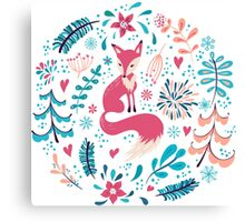 Fox with winter flowers and snowflakes Canvas Print