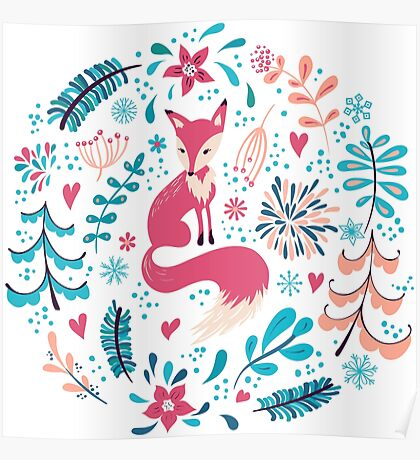 Fox with winter flowers and snowflakes Poster