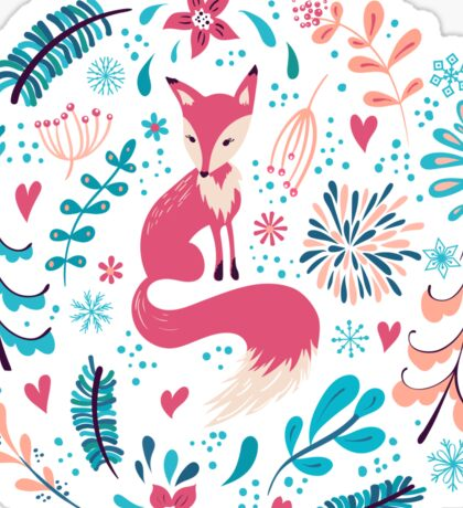 Fox with winter flowers and snowflakes Sticker