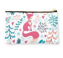 Fox with winter flowers and snowflakes Studio Pouch