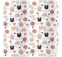 Pattern with cute owls and natural elements Poster