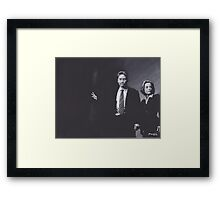 Original Charcoal Drawing of Dana Scully and Fox Mulder from X Files Framed Print