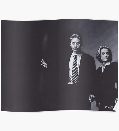 Original Charcoal Drawing of Dana Scully and Fox Mulder from X Files Poster