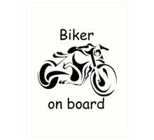 Biker on board 4 Art Print