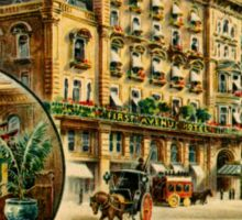 First Avenue Hotel London, Victorian lithograph advert Sticker