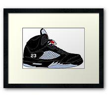 "Air Jordan V (5) ""Black Metallic"" Framed Print"