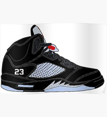 """Air Jordan V (5) """"Black Metallic"""" Poster"""