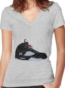 "Air Jordan V (5) ""Black Metallic"" Women's Fitted V-Neck T-Shirt"