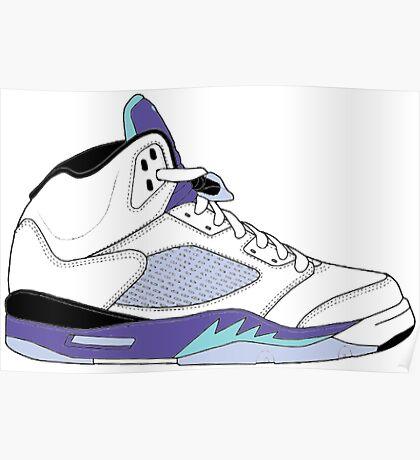 """Air Jordan V (5) """"White Grape"""" Poster"""