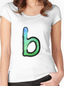 Watercolor - B - green Women's Fitted Scoop T-Shirt