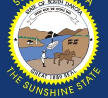 South Dakota Map with State Flag Sticker