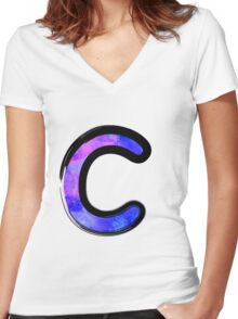 Watercolor - C - purple Women's Fitted V-Neck T-Shirt
