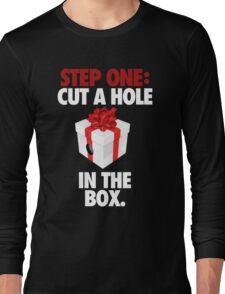 STEP ONE: CUT A HOLE IN THE BOX. - V2 Long Sleeve T-Shirt