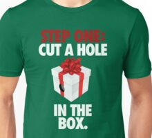 STEP ONE: CUT A HOLE IN THE BOX. - V2 Unisex T-Shirt