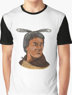 Maori Chief Warrior Bust Watercolor Graphic T-Shirt