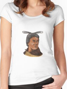 Maori Chief Warrior Bust Watercolor Women's Fitted Scoop T-Shirt