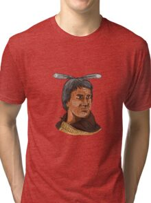 Maori Chief Warrior Bust Watercolor Tri-blend T-Shirt